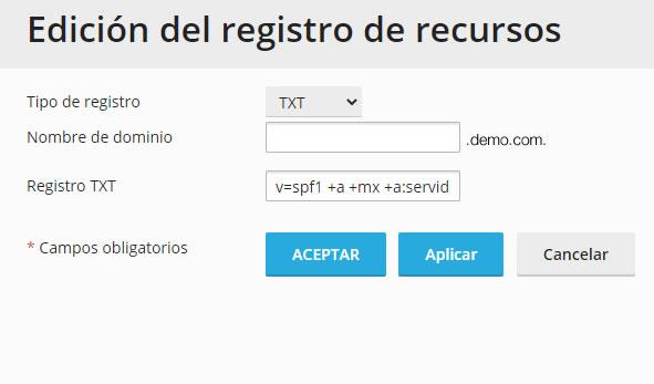 Registro SPF en Plesk