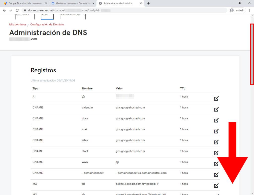 administración de dns dominios de google