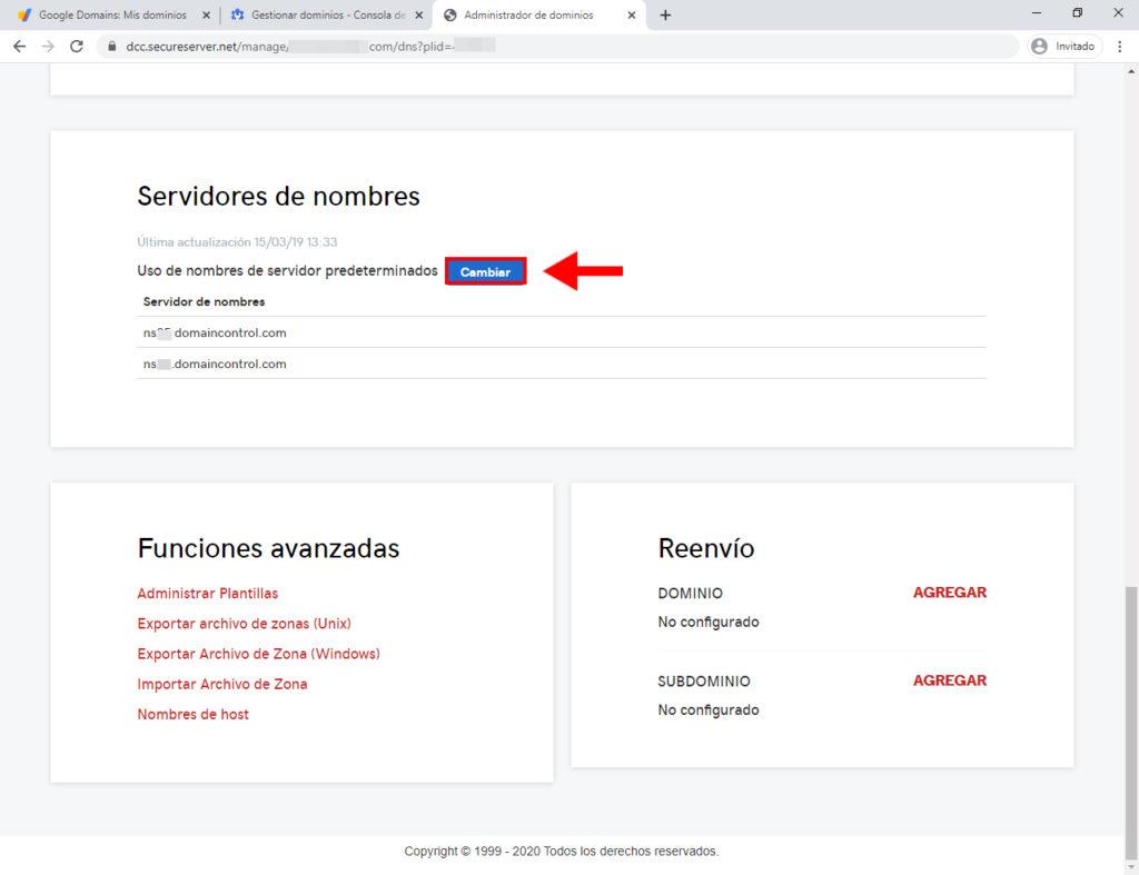 cambiar dns de dominio registrado con google