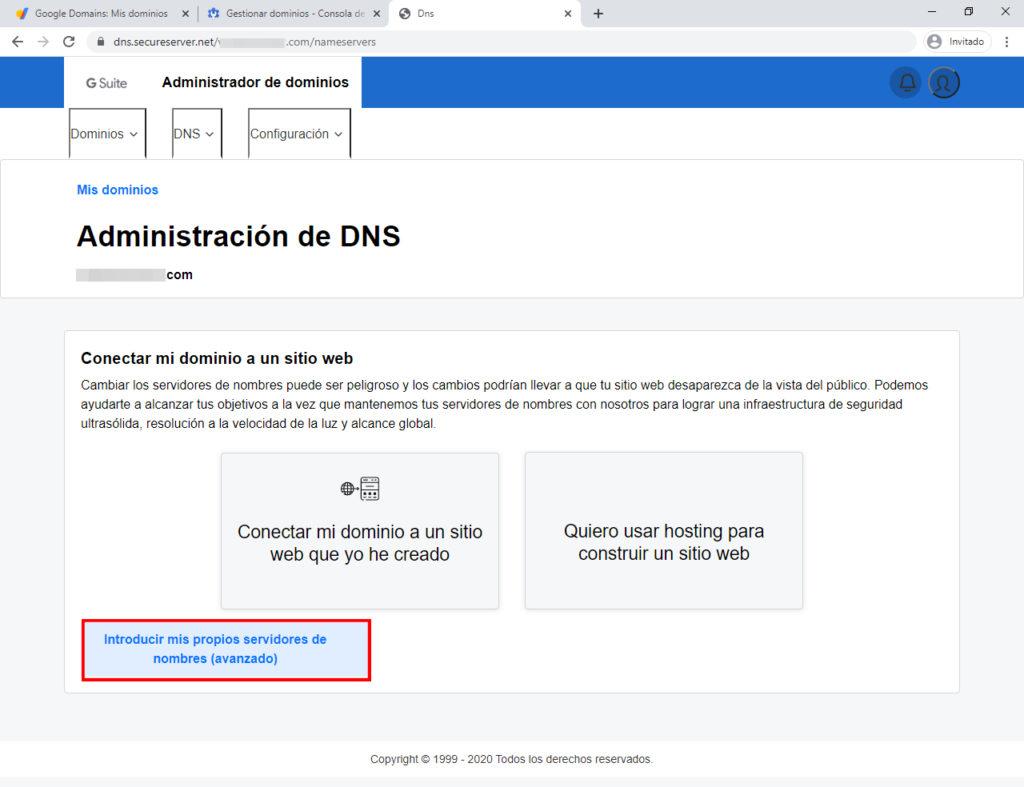 administración de DNS de Google