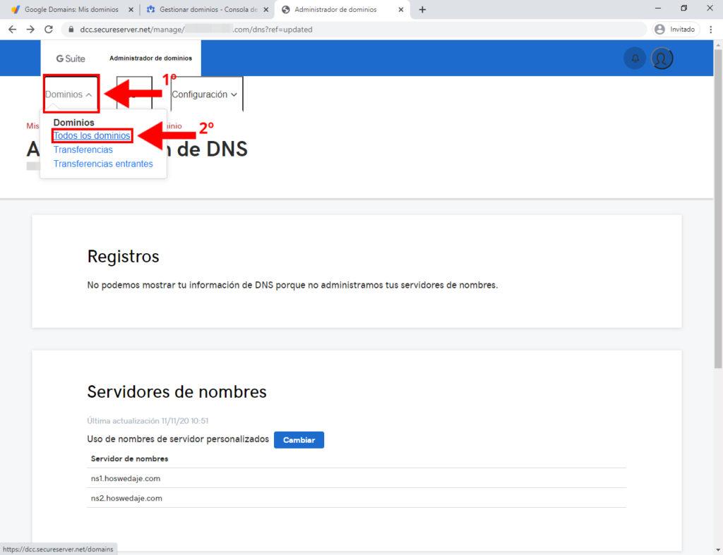 cómo transferir dominio a google
