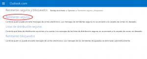 Remitentes seguros Outlook.com