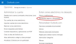 Remitentes seguros y bloqueados Outlook.com