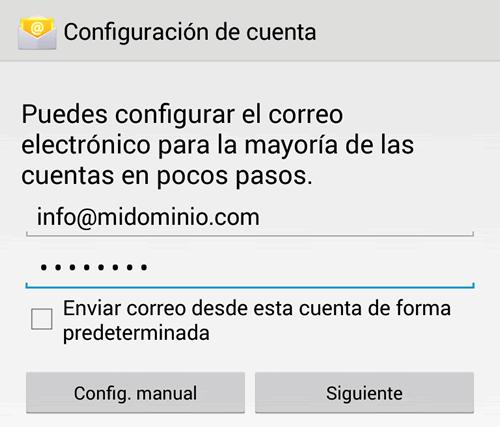 Configuracion de e-mail en Android: Paso 1