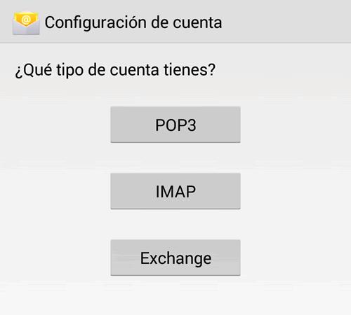 Configuracion de e-mail en Android: Paso 2
