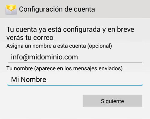 Configuracion de e-mail en Android: Paso 6