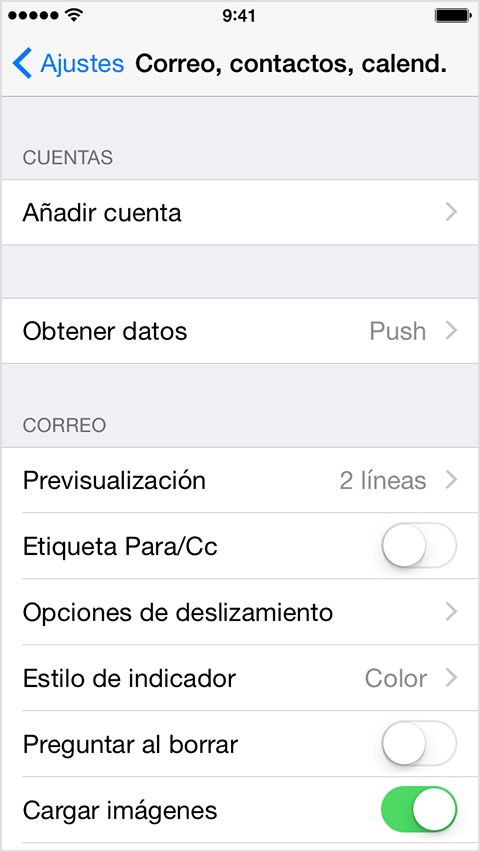 Configuraión de e-mail en Iphone: Paso 3
