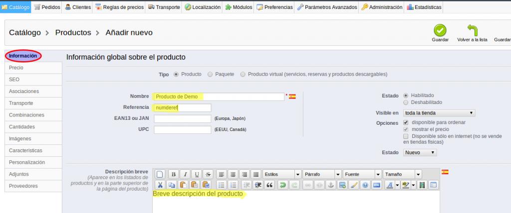 Añadir productos en Prestashop - 2