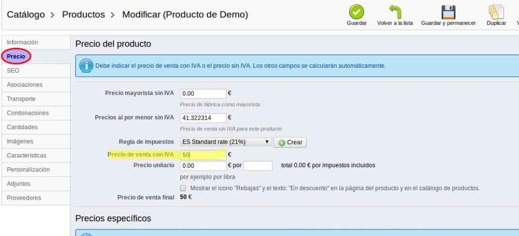 Añadir productos en Prestashop - 3