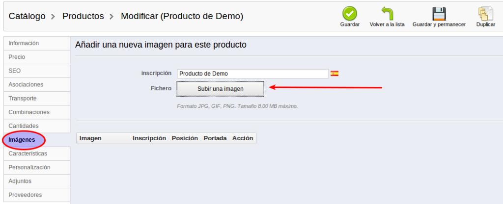 Añadir productos en Prestashop - 6