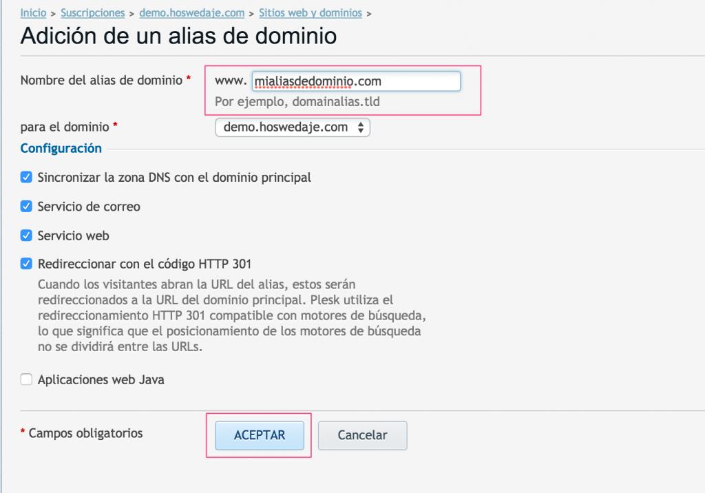 alias de dominio plesk
