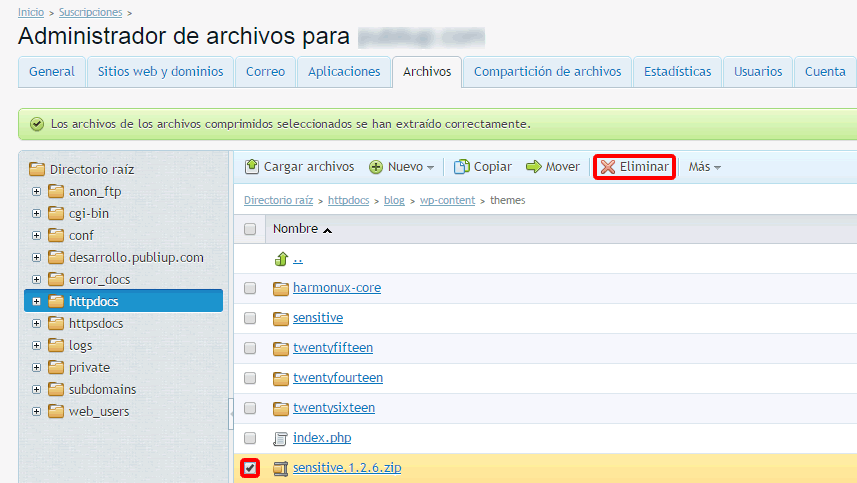 Eliminar zip tema de wordpress