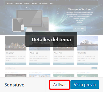 Activar tema de WordPress