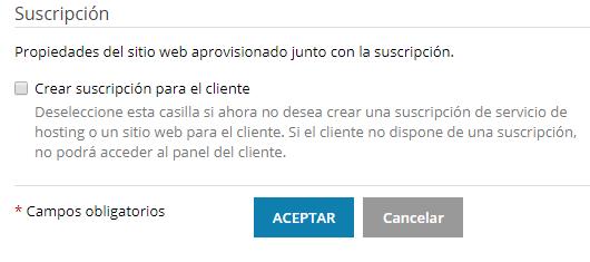 Crear suscripción para cliente.