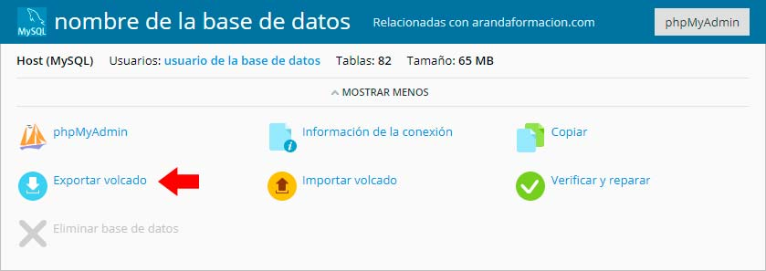 Copiar Base de Datos desde Plesk