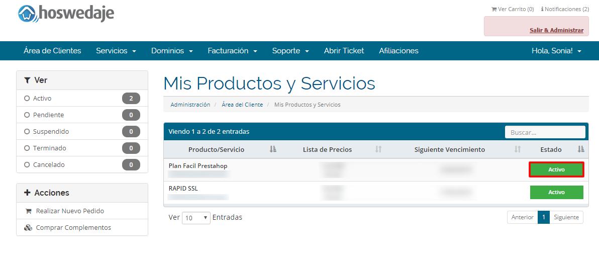 Área de cliente - Producto