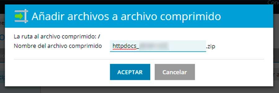 Añadir archivos a archivo comprimido
