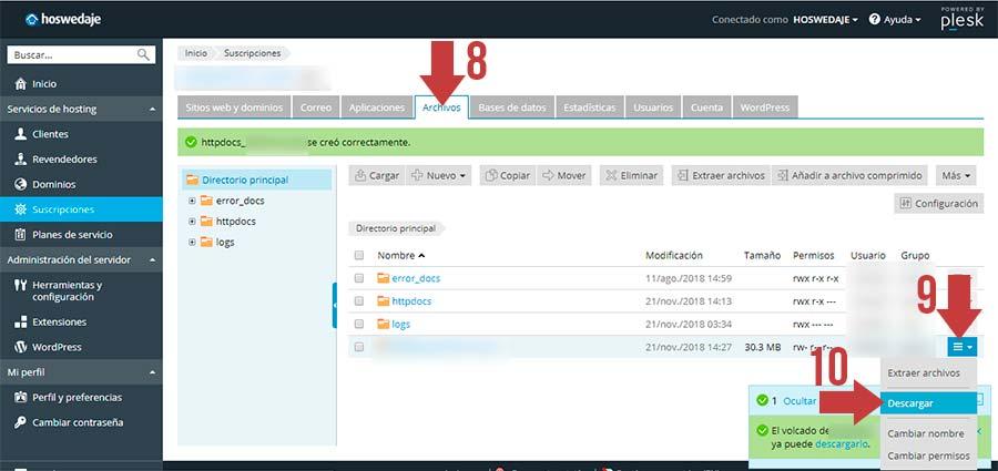 Descargar archivo zip de la base de datos