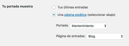 WordPress en modo mantenimiento