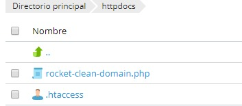 Crear archivo Rocket Clean Domain