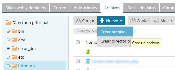 Crear archivo en Plesk