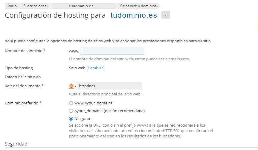 Configuración de Hosting
