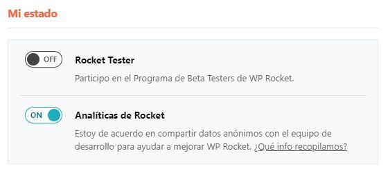 Mi estado WP Rocket