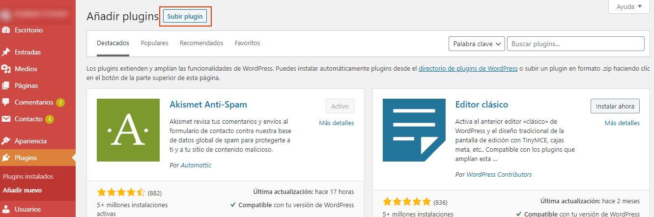 WordPress Botón añadir plugin