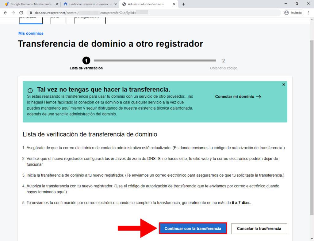 transferencia de dominio de google