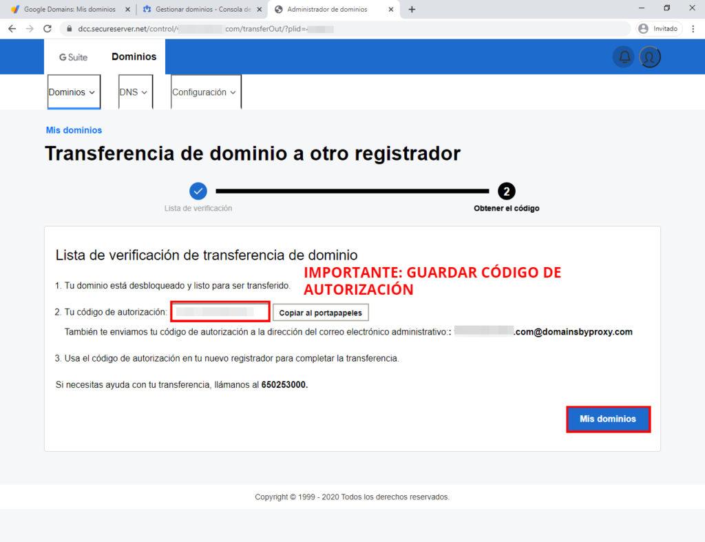 código de autorización para transferir dominio