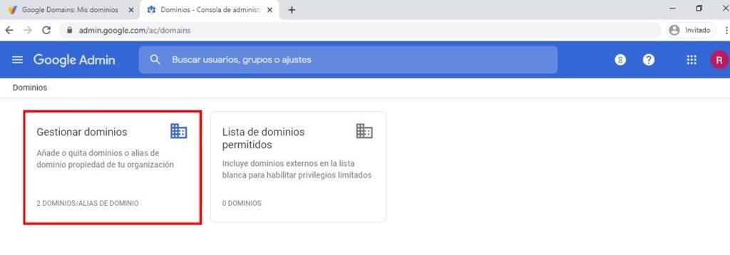 Gestionar mis dominios con google