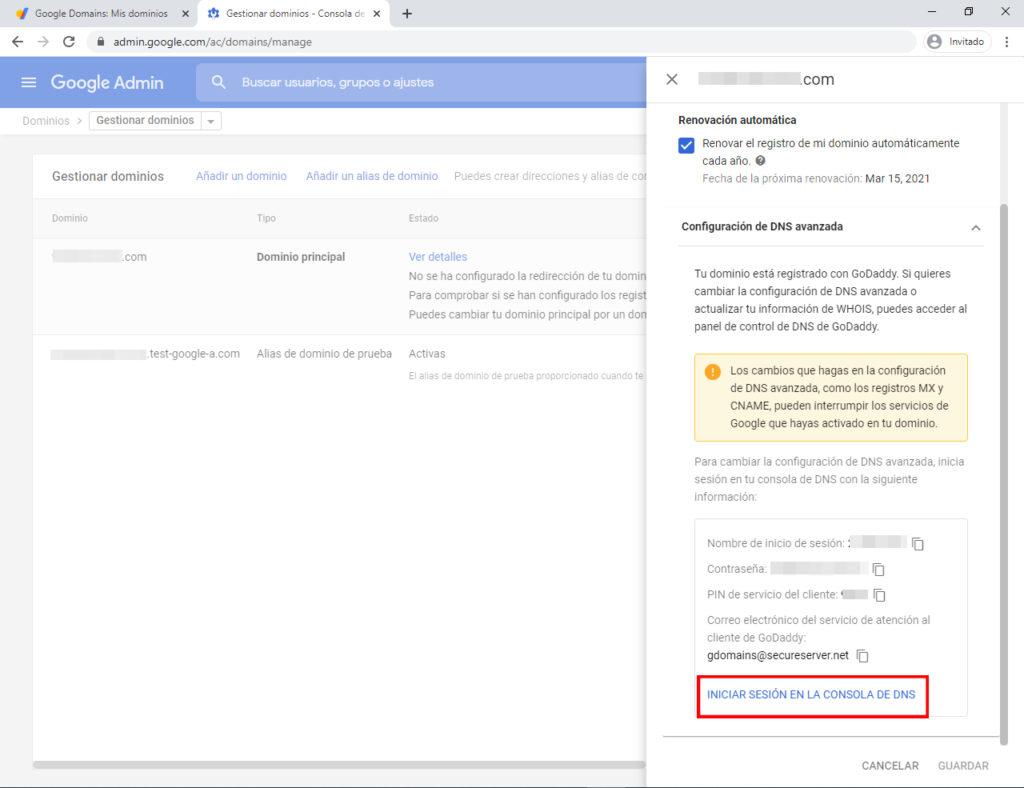 Iniciar sesión en la consola DNS de google