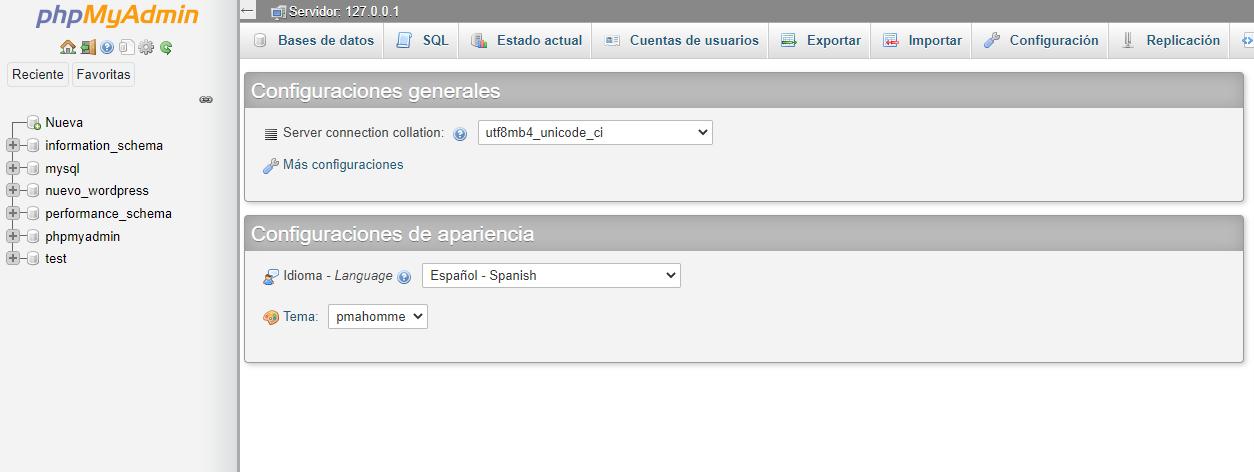 phpmyadmin para migrar wordpress