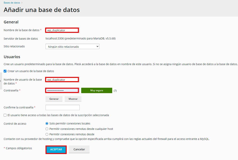 añadir una base de datos