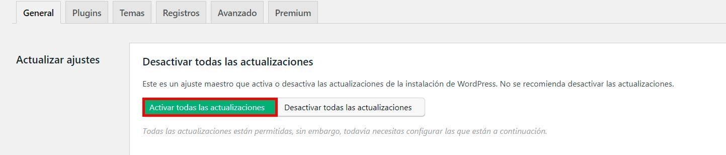 desactivar todas las actualizaciones en wordpress
