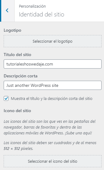 personalización de la identidad del sitio wordpress