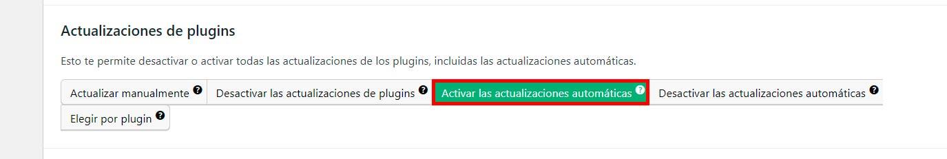 activar todas las actualizaciones en wordpress