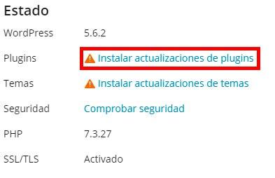 instalar actualizaciones de plugins
