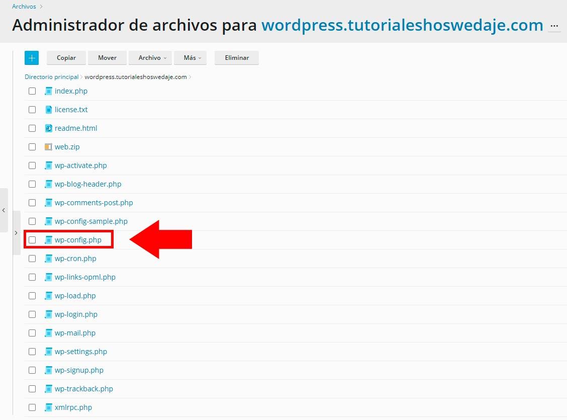 administrador de archivos para migrar WordPress