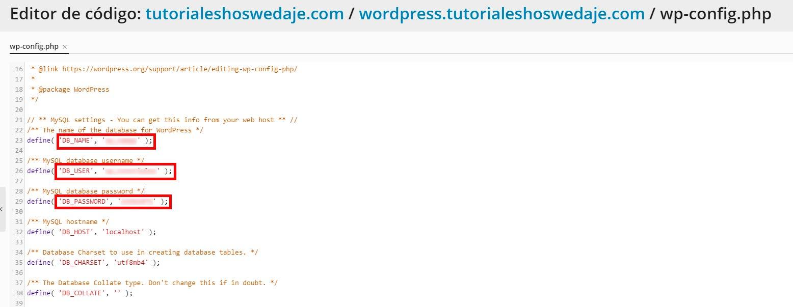 editor de código en wp-config.php