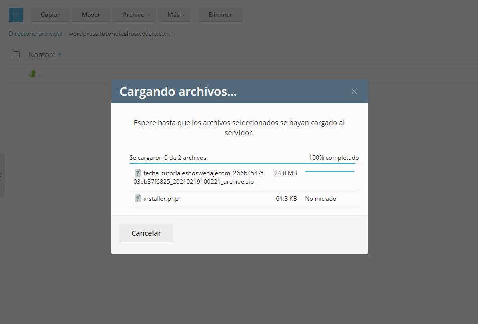 cargando archivos de instalacion