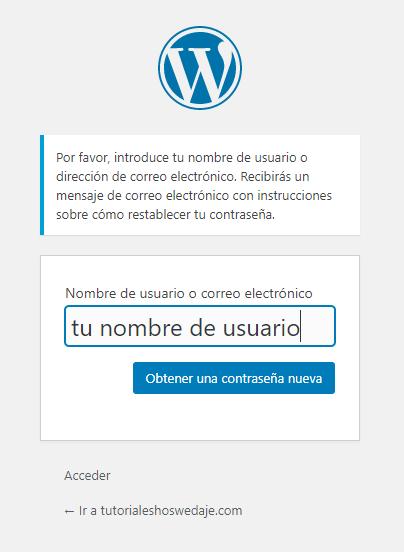 contraseña wordpress