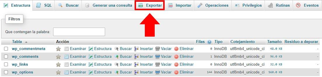 exportar wp