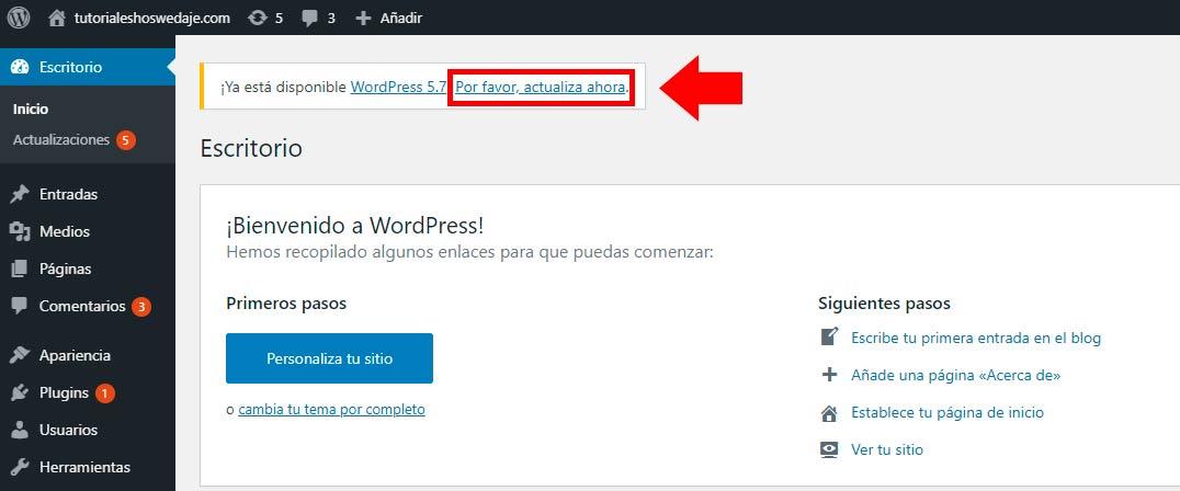 actualiza ahora en wordpress