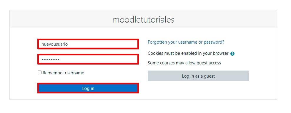 iniciar sesión en Moodle