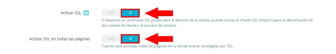 PrestaShop Certificado SSL