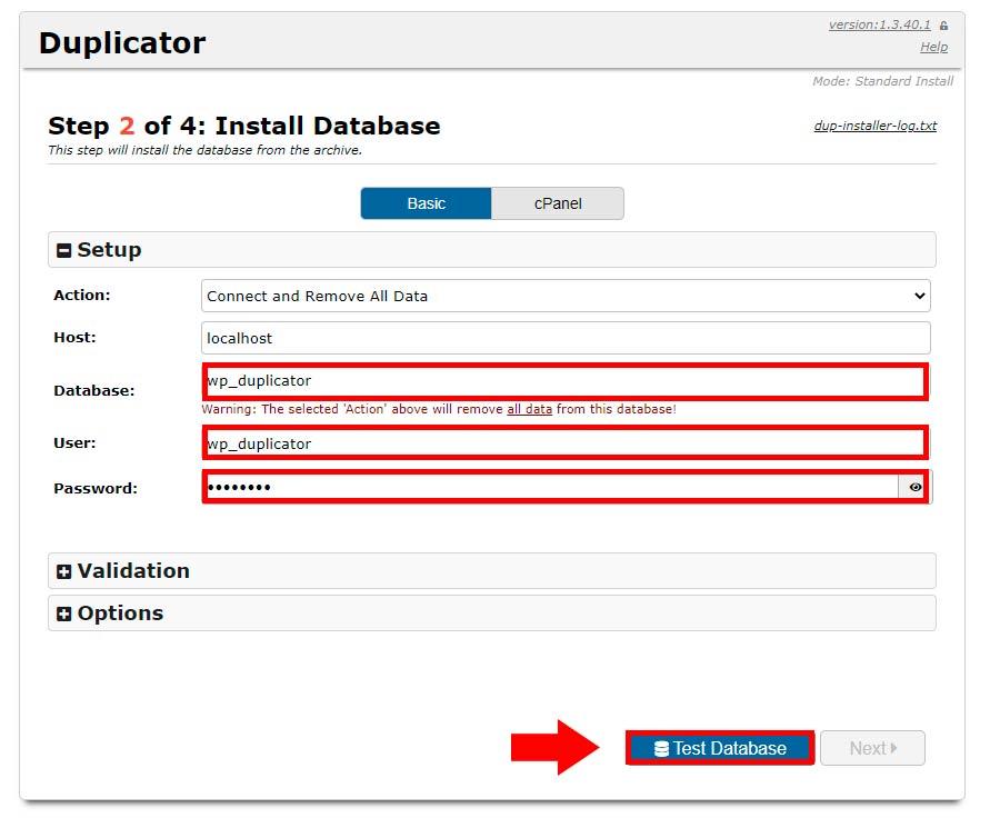 duplicator instalacion de database
