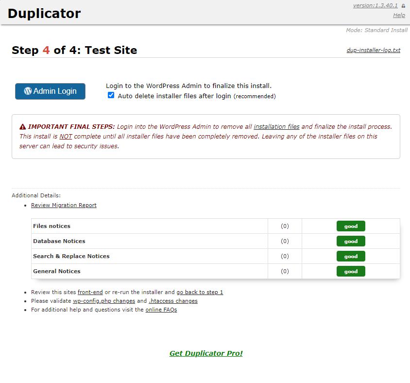 duplicator test site