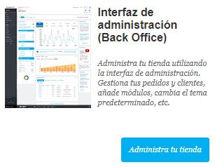 interfaz de administración back office