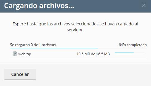 cargando archivos webzip